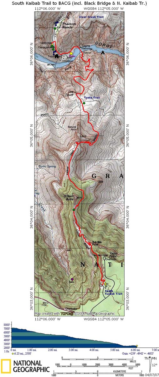 Map of South Kaibab Trail with Elevation Profile